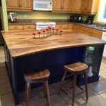 Walnut island with stools